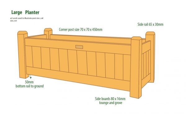 larch planter  900 x 450 x 450